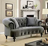Rayne Gray Flannelette Loveseat by Furniture of America