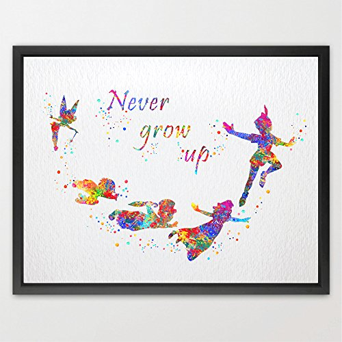Dignovel Studios 8X10 Peter Pan Never grow up quote Watercolor Art Print Poster Home Decor Boys Girls Room Art Motivational Inspirational Gift Birthday Gift N325 (Baby Peter Pan compare prices)
