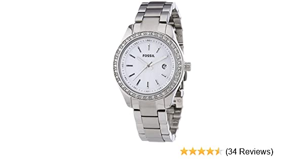 Amazon.com: Fossil Womens Quartz Stainless Steel Casual Watch, Color:White (Model: ES2998): Fossil: Watches