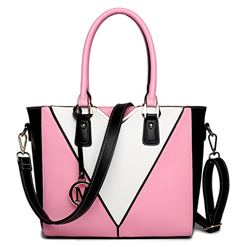 Miss Lulu Women's Leather Look V-Shape Shoulder Handbag Large Pink