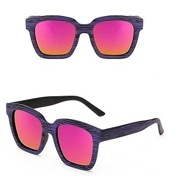 HYUHYU Cuadrado Vintage Imitación Gafas De Sol De Madera ...