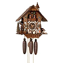 Cuckoo Clock Black forest house, turning mill-wheel