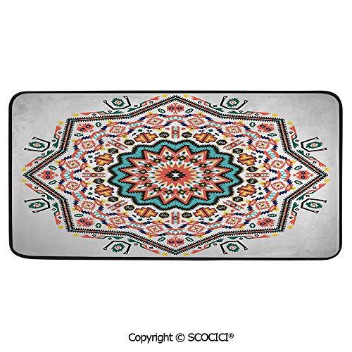 Print Door Mat, Indoor Floor Area Carpet Compatible Bedroom,Living Room,Children, Playroom, Bathroom,Tribal,Abstract Aztec Style Kaleidoscope Themed Boho Ethnic Sun,39