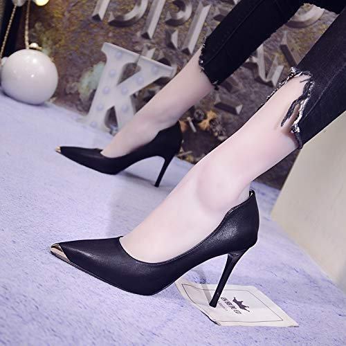 Pointed Heels Black Single Round High Yukun Female Patent heels High Light Buckle Pedal Leather 37 With One Nude Head Shoes Wild gSq40TS