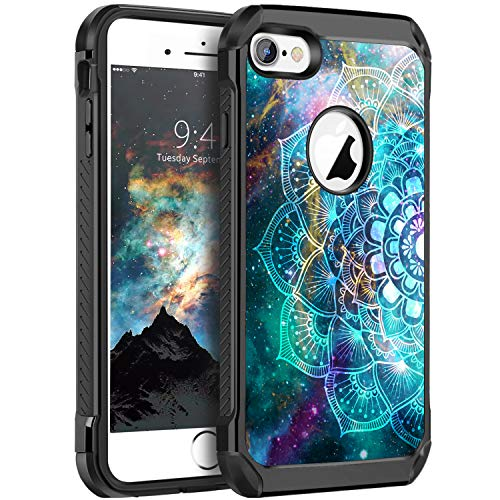 BENTOBEN iPhone 6 Case, iPhone 6S Case Slim Shockproof 2 in 1 Hard PC Soft Bumper Dual Layer Hybrid Luminous Noctilucent Nebula Protective Phone Cases Cover for iPhone 6/6S 4.7 inch, Mandala in Galaxy (Glow In The Dark Phone Case Iphone 6)