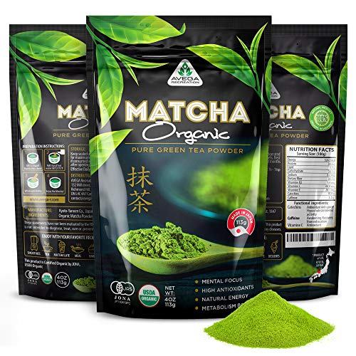 Organic Matcha Green Tea Powder [USDA certified] Best Japanese Macha 100% Pure Highest Premium Grade [4oz] Great for Smoothies and Baking