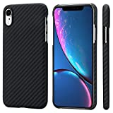 PITAKA Slim Case Compatible with iPhone XR 6.1', MagCase Aramid Fiber [Real Body Armor Material] Phone Case,Minimalist Strongest Durable Snugly Fit Snap-on Case - Black/Grey(Twill)