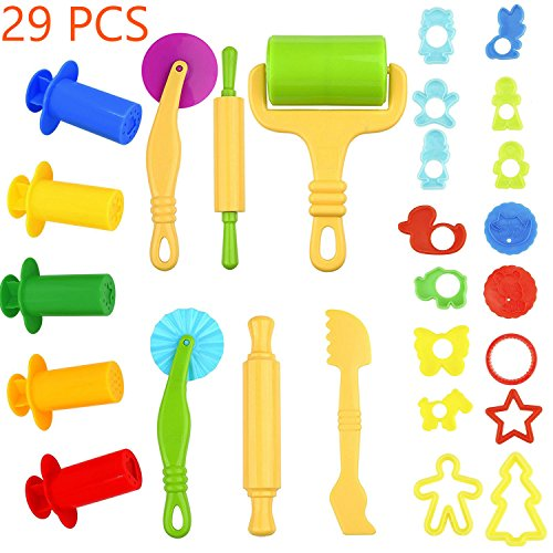 Kyerivs Clay and Dough Tools with Models and Molds, Play Dough Accessories Plastic Dough Rollers Molds Cutters Fruit Animals Shapes, Assorted Color, 29 PCS