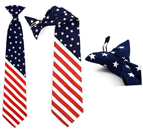 Boys American Flag USA Kids Neck Tie Necktie - White - Patriotic Clip On Neck Tie (14 Inches)