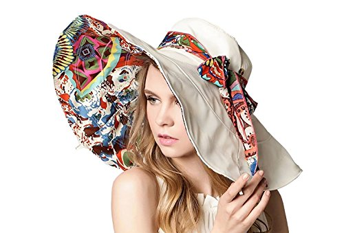 Wicky Women's Sun Hat Large Wide Brim Beach Visor Hat Foldable Beach Cap(Medium, Beige)