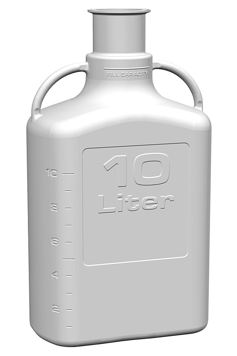 EZgrip 10L (2.5 Gal) Autoclavable Polypropylene Sanitary Space Saving Carboy with 3 Inch Sanitary Neck and 13L Max Capacity