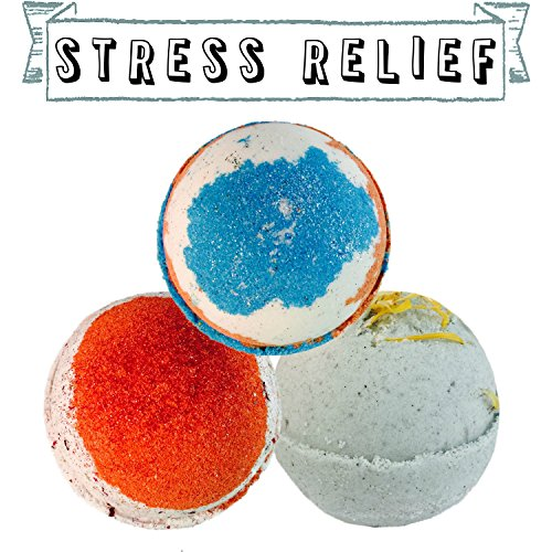 Price comparison product image OLLIE ARNES Natural Handmade Large Bath Bomb Bubble Bath Fizzy Gift Set STRESSRELIEF-ST3