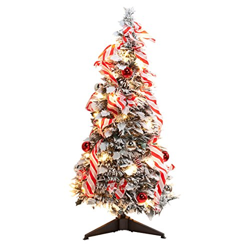 Miles Kimball 3' Snow Frosted Candy Cane Pull-Up Tree by NorthwoodsTM