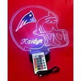 New England Patriots NFL Light Up Lamp LED Personalized Free Football Light Up Light Lamp LED Table Lamp Our Newest Feature - Its WOW, With Remote, 16 Color Options, Dimmer, Free Engraved, Great Gift