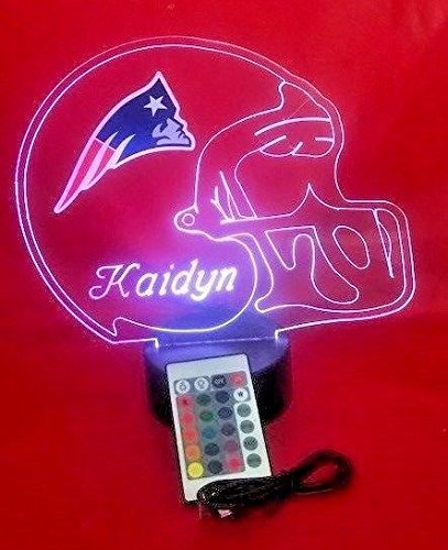 New England Patriots NFL Light Up Lamp LED Personalized Free Football Light Up Light Lamp LED Table Lamp Our Newest Feature - It's WOW, With Remote, 16 Color Options, Dimmer, (New England Patriots Lamp)