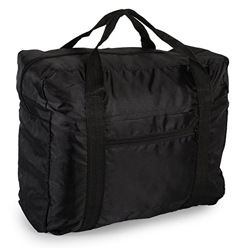 (Lightweight Travel Weekender Duffle Bag for Carry On Luggage, Vacation, Sports, Yoga, Gym, and Storage - Black)