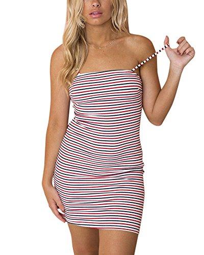 Corti Donna Spiaggia Blu Da Penggeng Abiti Sera Fionda Rosso Benda Eleganti Striscia Vestiti 6f7bYyg