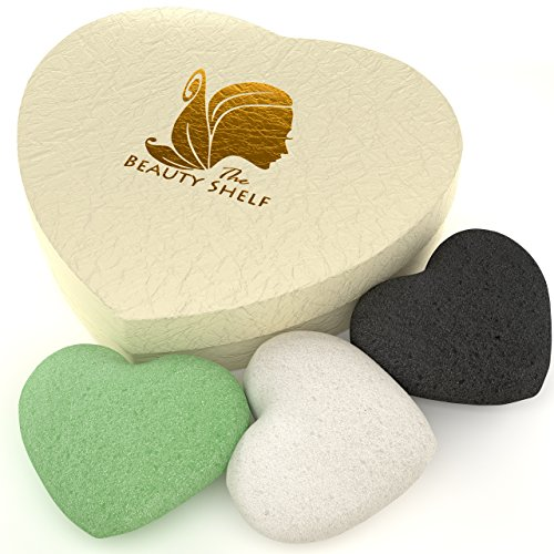 konjac-sponge-3-pack-charcoal-green-tea-natural-facial-cleansing-exfoliating-beauty-sponges