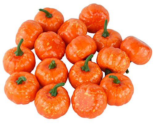 JEDFORE Fake Fruit Home Kitchen Decoration Artificial Lifelike Simulation Mini Pumpkins Halloween - Set of 16 - Orange