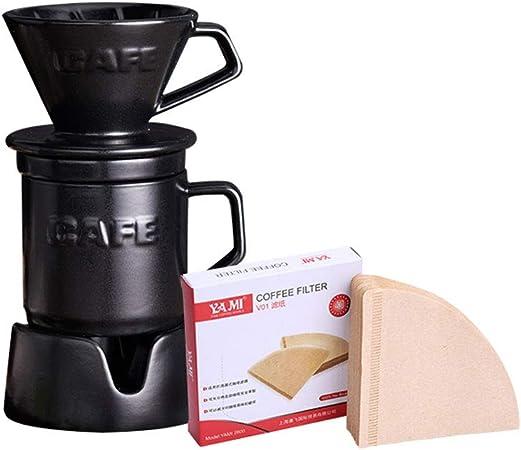 NACEO Juego De Café Vertido De Cerámica con Filtro De Cerámica Reutilizable, Cafetera De Goteo Manual De 300 Ml, Gotero De Café Preparado, Incluye Base Y Papel De Filtro: Amazon.es: Hogar