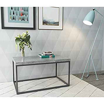 Roomfitters Faux Cement Coffee Table With Metal Frame Box, Faux Concrete  Top, Accent Table