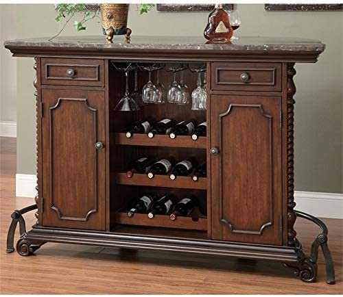 BOWERY HILL Marble Top Home Bar in Warm Brown