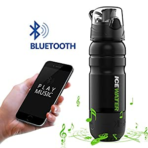 2-in-1 Water Bottle+Bluetooth Speaker,Bottle Materials MADE IN USA(Tritan),100%BPA-Free,22oz,Wireless Speaker,360° Sound,Built-in Battery,Water Resistant,Hands-Free Call,Perfect Gift by ICEWATER