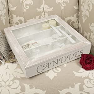Wooden Candle Storage Box With Glass Lift Up Lid And Three Sections W32cm X  H6cm X D32cm