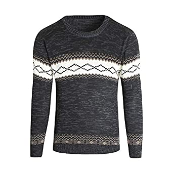 c15da6b4cc20fc Men s Knitted Round Collar Long Sleeve Top Sweater Pullover  Amazon ...
