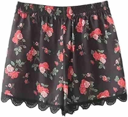 bb96110156 Inkach - Womens Lace Shorts - High Waisted Floral Printed Summer Beach  Casual Short Pants