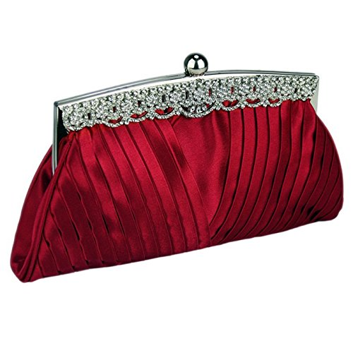 Crystal Top Satin Prom Bag The Handbag Clutch Bridal Bags Decoration Along Evening Red With Party Ruched Wedding TIqgxw8T