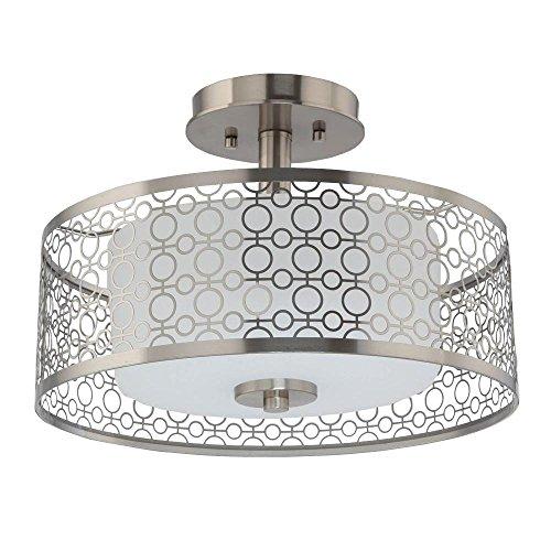 Home Decorators 7914HDC 1-Light Brushed Nickel LED Semi-Flush Mount Light Collection 1 Light Flush