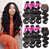 Beauty Princess Brazilian Body Wave with Closure 8a Unprocessed Brazilian Virgin Hair 3 Bundles with Middle Part Closure Natural Black Human Hair Bundles With Closure(20 22 24with 18)
