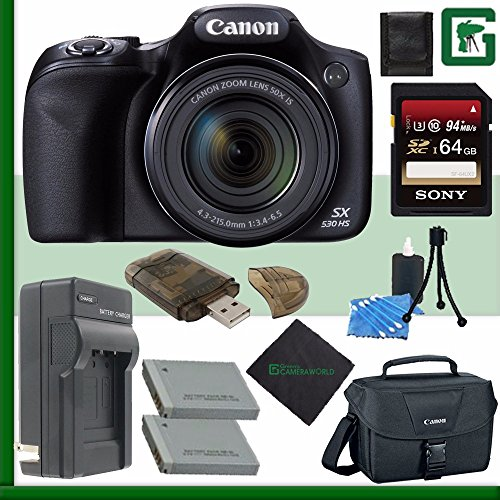 Canon PowerShot SX530 HS Digital Camera + 64GB Green's Camera Bundle 3