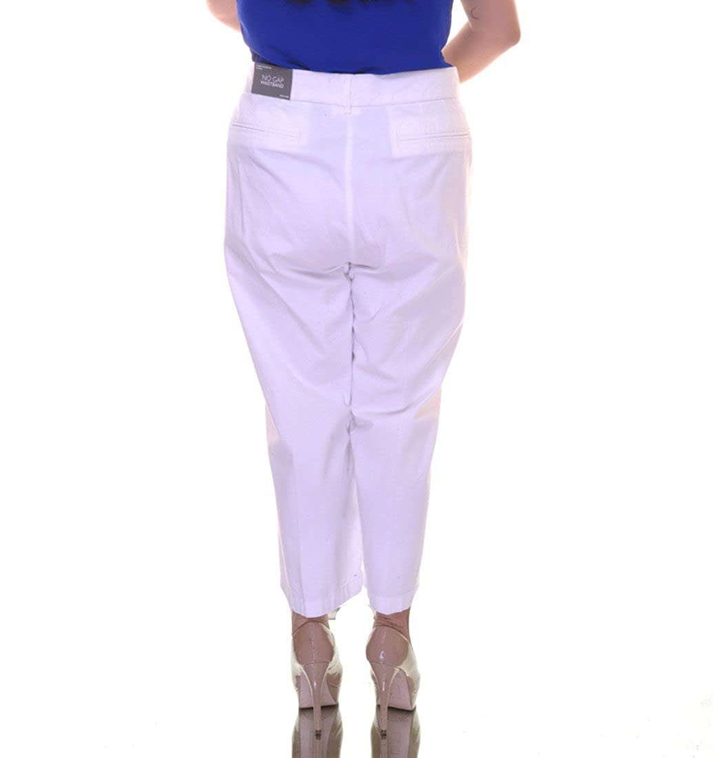 b19315ed2b8 JM Collection Womens Plus Twill Tummy Slimming Cropped Pants White 24W at  Amazon Women s Clothing store