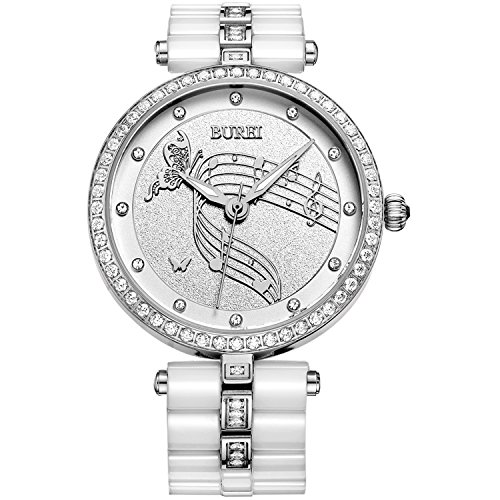 BUREI Women Simple Classic Wrist Watches with Diamond Bezel Stainless Steel Quartz and White Ceramic Bracelet (Sapphire Ladies Diamond Watch Bracelet)