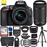 "Nikon D5600 DSLR Camera with AF-P 18-55mm VR & 70-300mm G ED Lenses - 15PC Accessory Bundle Includes 3PC Filter Kit + 16GB SD Memory Card + 60"" Full-Size Tripod + Digital Slave Flash + More"