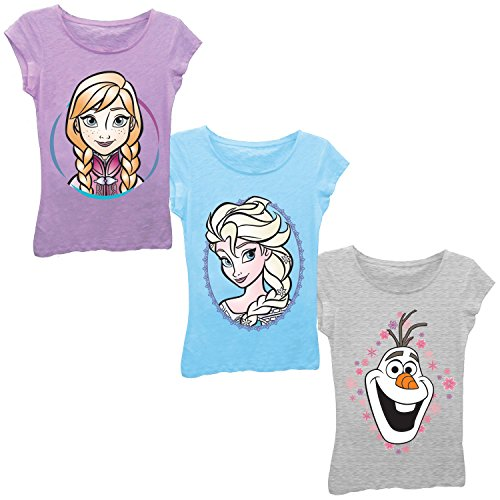 Disney Girls' Frozen Elsa, Anna, Olaf 3-Pack T-Shirt