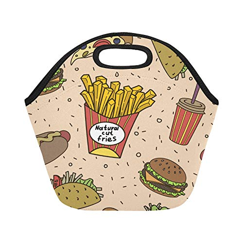 Insulated Neoprene Lunch Bag Fast Food Large Size Reusable Thermal Thick Lunch Tote Bags Lunch Boxes For Outdoor Work Office School ()