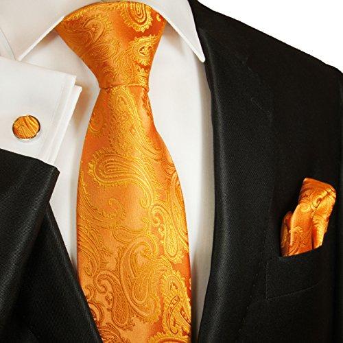 Cravate homme l'orange paisley ensemble de cravate 3 Pièces ( longueur 165cm )
