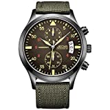 JEDIR Men Military Chronograph Quartz Wrist Watch Analog Number Dial with Date Window Metal Case (Green)