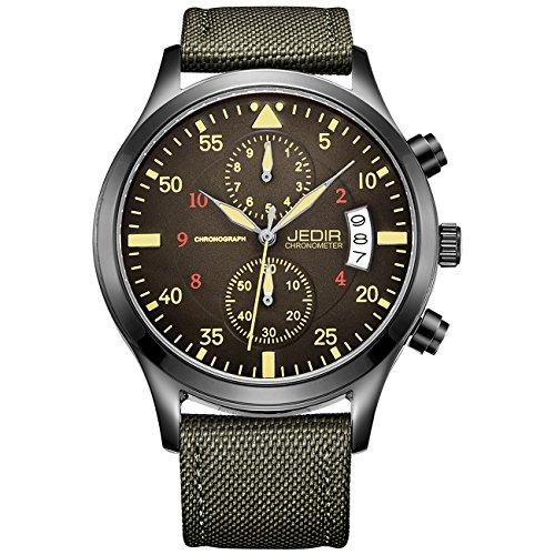 JEDIR Men Military Chronograph Quartz Wrist Watch Analog Number Dial with Date Window Metal Case (Green)