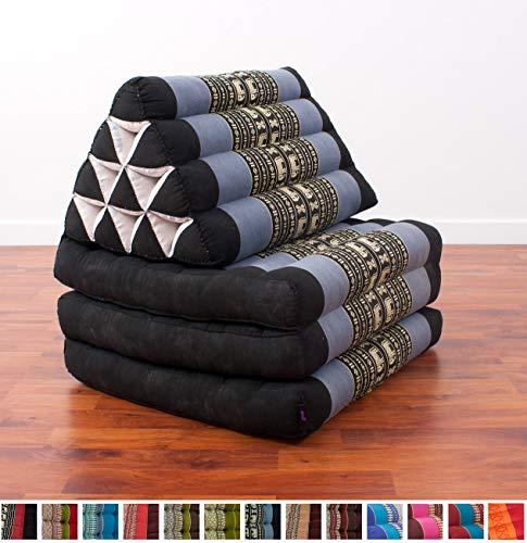 Leewadee Foldout Triangle Thai Cushion, 67x21x3 inches, Kapok Fabric, Blue, Premium Double Stitched from Leewadee