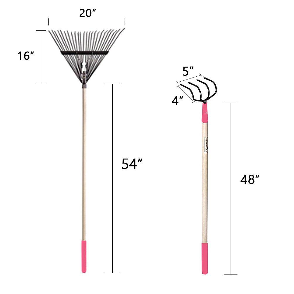 GardenAll 7-Pieces Women Garden Tools Set- Include 14Tine Bow Rake/11T Steel Rake/24T Steel Rake/Round Point Shovel/4 Tine Cultivator/Mini Round Point Shovel/Forged Garden Hoe by GardenAll (Image #3)