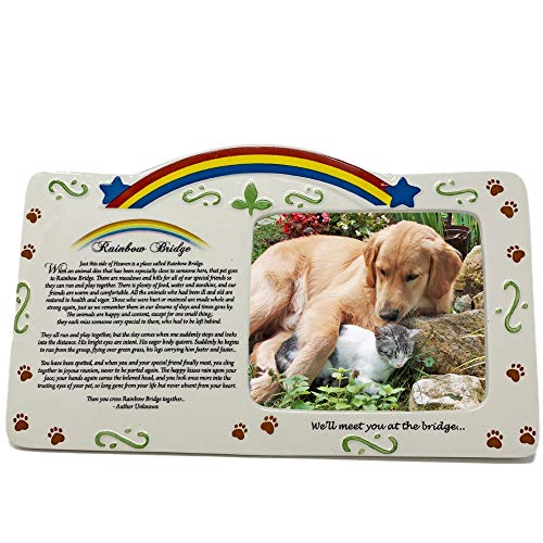 BANBERRY DESIGNS Pet Bereavement Photo Frame Rainbow Bridge Poem
