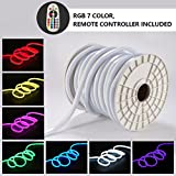 Led RGB Neon Lights, Shine Decor RGB Rope Lights, Update Waterproof 5050 60Leds/M, 50ft, 110V, Included All Necessary Accessories, Multi Color Changing + Remote Controller Flex Durable Super Bright F