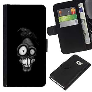 // PHONE CASE GIFT // Moda Estuche Funda de Cuero Billetera Tarjeta de crédito dinero bolsa Cubierta de proteccion Caso Samsung Galaxy S6 EDGE / Funny Weird Skull Face /