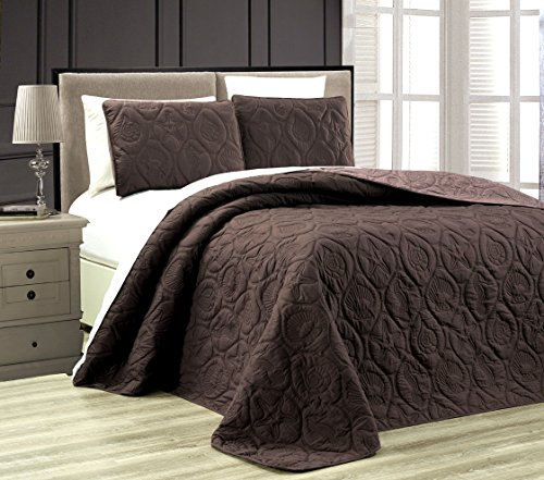 3-Piece Tropical Coast Seashell Beach (California) Cal King Oversize OVERSIZE Bedspread CHOCOLATE BROWN / TAUPE Reversible Coverlet Embossed Bed Cover set. Sea Shells, Sea Horse, Starfish etc. (Bedspread Chocolate)
