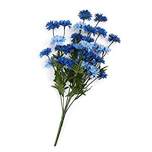 Factory Direct Craft Poly Silk Mixed Blue Cornflower Bush | for Indoor Decor 61