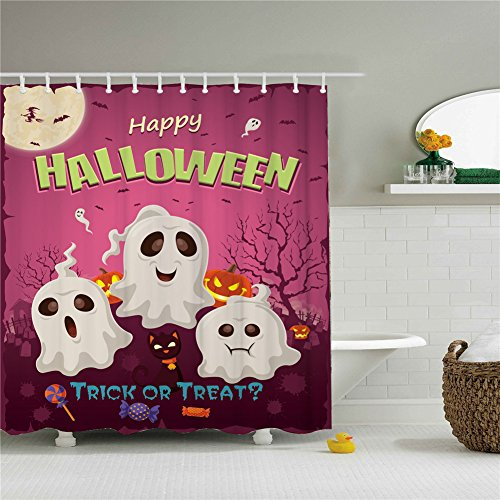 Three White Ghost Halloween Trick Or Treat Shower Cutains-Water, Soap, and Mildew resistant Machine Washable 12 Shower Hooks are Included 66